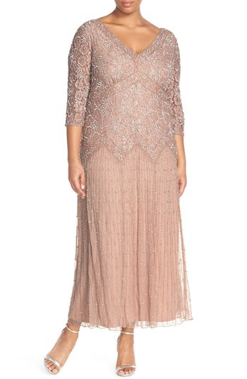 Plus Size Pisarro Nights Beaded V-Neck Lace Illusion Gown, Pink