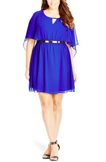 Plus Size City Chic Belted Capelet Dress, Blue