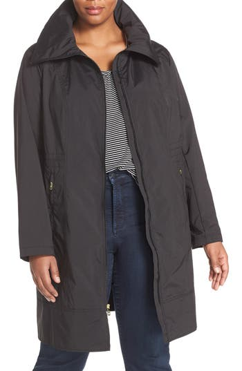 Plus Size Women's Cole Haan Signature Water-Resistant Packable Hooded Anorak