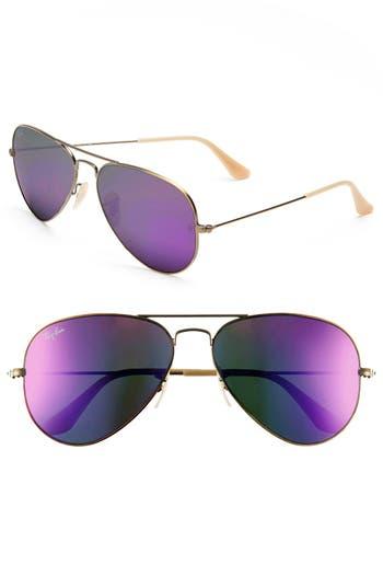 Ray-Ban Standard Original 5m Aviator Sunglasses - Bronze/ Violet Mirror
