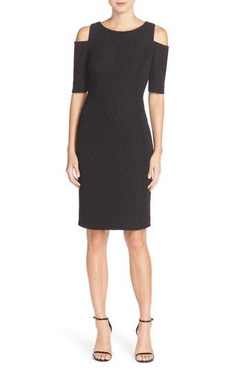Eliza J Cold Shoulder Sparkle Knit Sheath Dress, Black