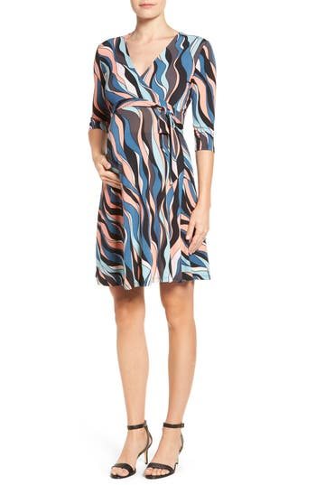 Women's Leota 'Perfect Wrap' Maternity Dress, Size Large - Blue