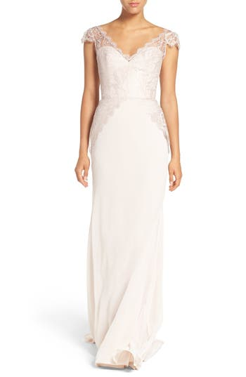 Women's Hayley Paige Occasions Cap Sleeve Lace & Chiffon Trumpet Gown