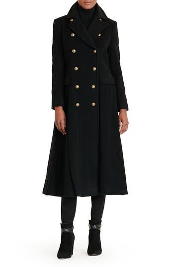 Women's Lauren Ralph Lauren Double Breasted Military Maxi Coat, Size 0 - Black