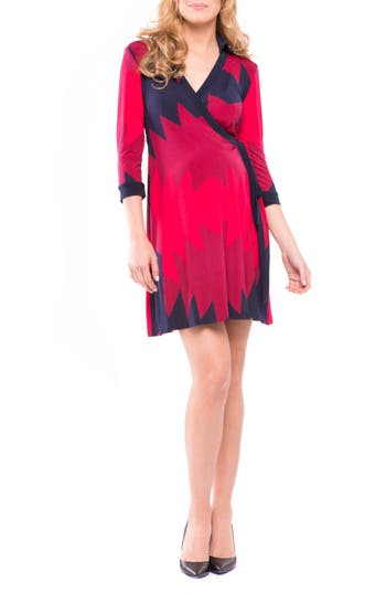 Women's Olian Olivia Maternity Wrap Dress, Size X-Small - Red