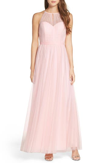 Wtoo Tulle Halter Neck Gown, Pink