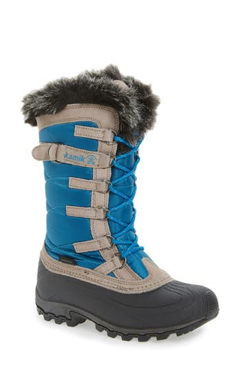 Kamik Snowvalley Waterproof Boot With Faux Fur Cuff, Blue