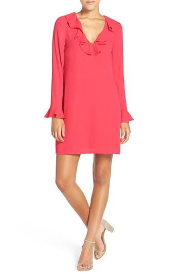 Women's Charles Henry Ruffle Neck Shift Dress, Size Medium - Red