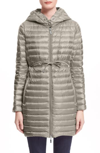Moncler Barbel Water Resistant Long Hooded Down Jacket