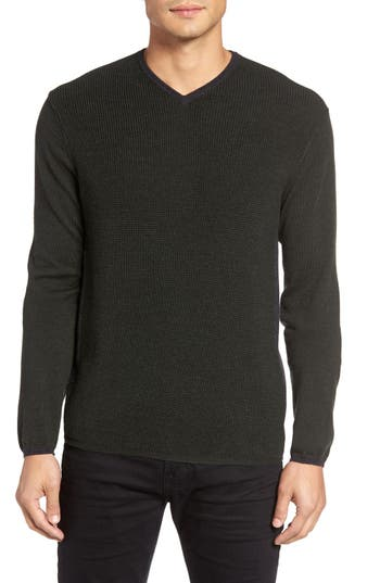 Zachary Prell V-Neck Colorblock Merino Wool Pullover, Green