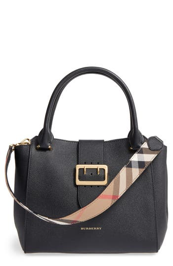 Burberry Medium Buckle Leather Satchel - Black at NORDSTROM.com