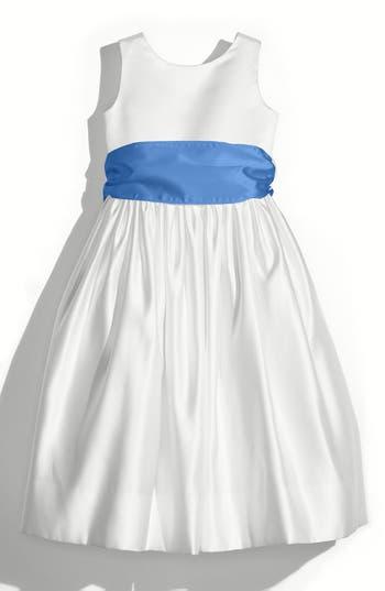 Girls Us Angels White Tank Dress With Satin Sash Size 8  Yellow