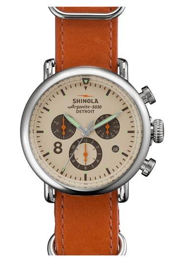SHINOLA 'THE RUNWELL CONTRAST CHRONO' LEATHER STRAP WATCH, 41MM