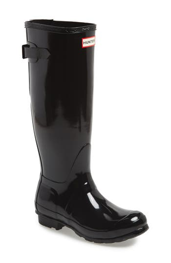 Hunter Adjustable Back Gloss Rain Boot, Black