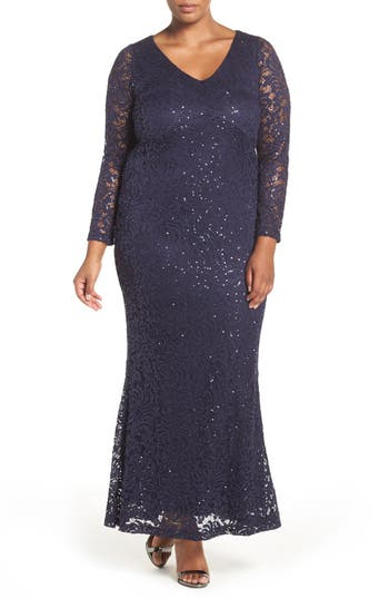 Plus Size Marina Stretch Lace Gown