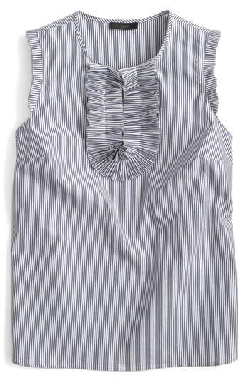 Petite Women's J.crew Margot Airy Cotton Pique Cotton Top