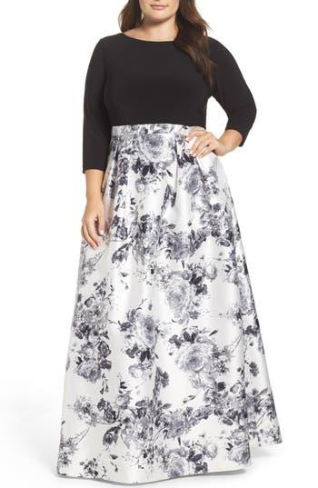 Plus Size Adrianna Papell Jersey & Mikado Ballgown