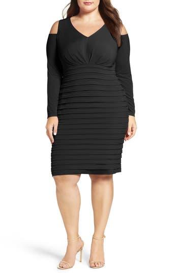 Plus Size London Times Cold Shoulder Shutter Pleat Jersey Sheath Dress, Black