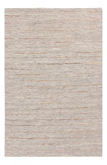Surya Home Anthracite Leather Rug, Size Swatch - Grey