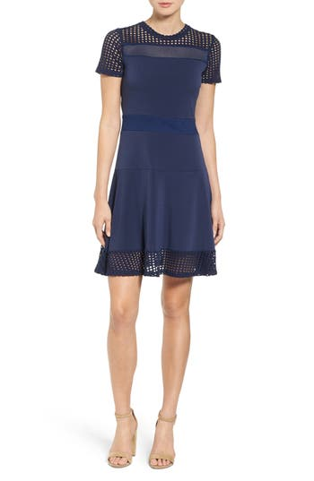 Michael Michael Kors Mesh Combo Fit & Flare Dress, Blue