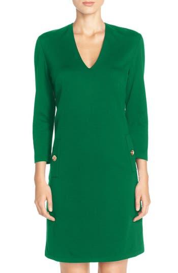 Eliza J Button Pockets Ponte A-Line Dress, Green