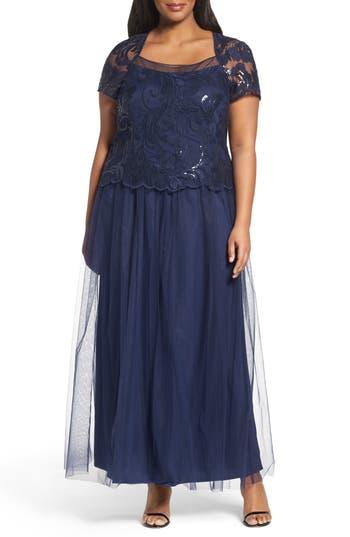 Plus Size Brianna Sequin Bodice Gown, Blue