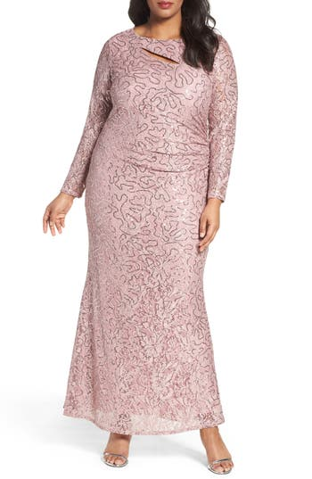 Plus Size Marina Sequin Lace Keyhole Gown, Pink