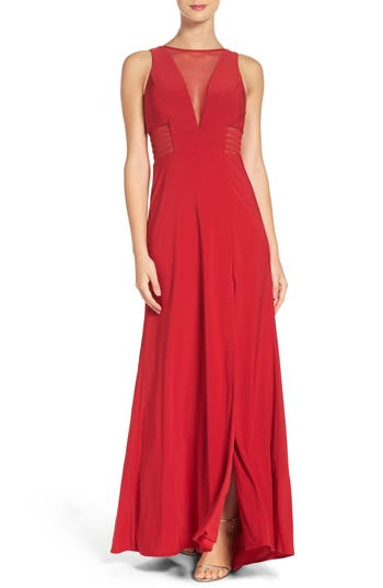 Morgan & Co. Illusion Gown, /2 - Red