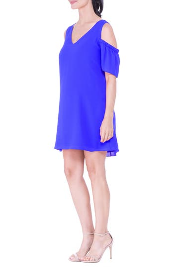 Olian Cold Shoulder Maternity Dress, Blue