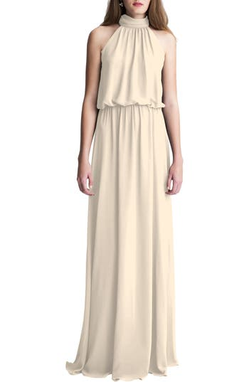 #levkoff High Neck Chiffon A-Line Gown