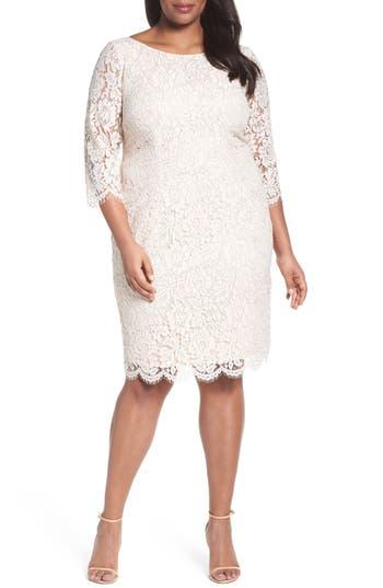 Plus Size Adrianna Papell Metallic Lace Sheath Dress