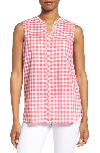 Foxcroft Gingham Sleeveless Shirt, Pink
