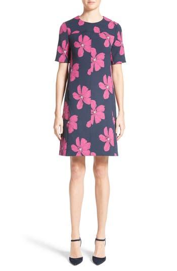 Lela Rose Floral Print Stretch Jacquard Tunic Dress