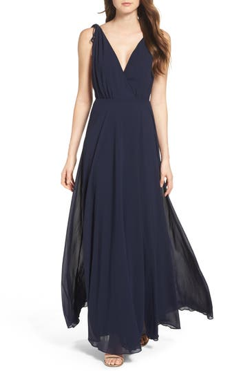 Lulus V-Neck Chiffon Gown, Blue