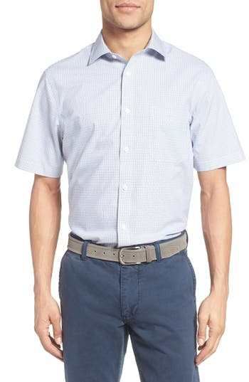 Men's Nordstrom Men's Shop Smartcare™ Regular Fit Windowpane Short Sleeve Sport Shirt