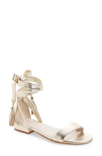 Kenneth Cole New York Valen Tassel Lace-Up Sandal, Metallic