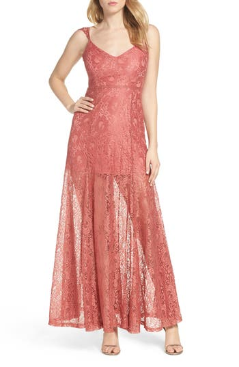 Lulus Lace Illusion Skirt Gown, Pink
