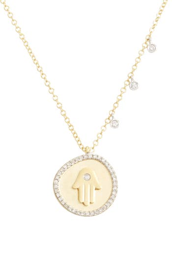 Women's Meira T Diamond Hamsa Pendant Necklace