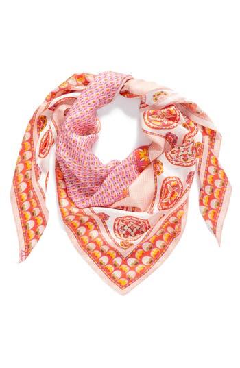 Women's Echo Medallion Triangle Silk Scarf, Size One Size - Orange