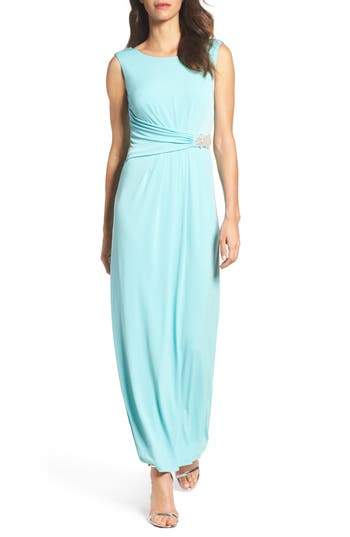 Ellen Tracy Embellished Jersey Gown