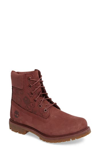 Timberland 6-Inch Premium Embossed Waterproof Boot- Burgundy