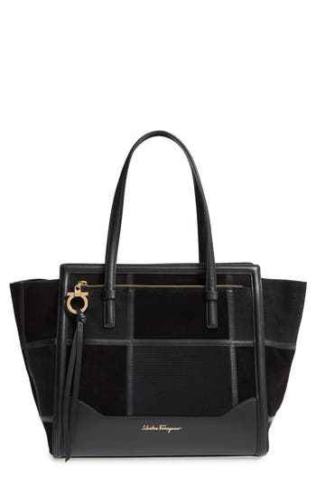 Salvatore Ferragamo Medium Amy Patchwork Leather Tote - None