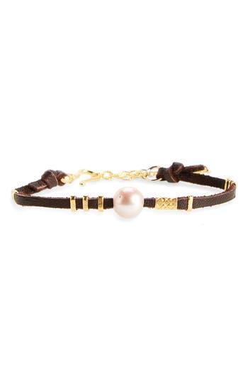 Women's Chan Luu Pearl & Leather Bracelet