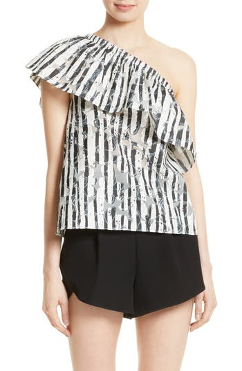 Women's Milly Burnout One-Shoulder Top, Size 2 - White
