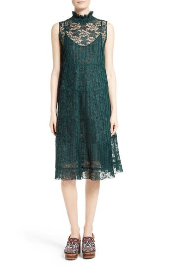 See By Chloe Lace Ruffle Neck Dress, 6 FR - Green