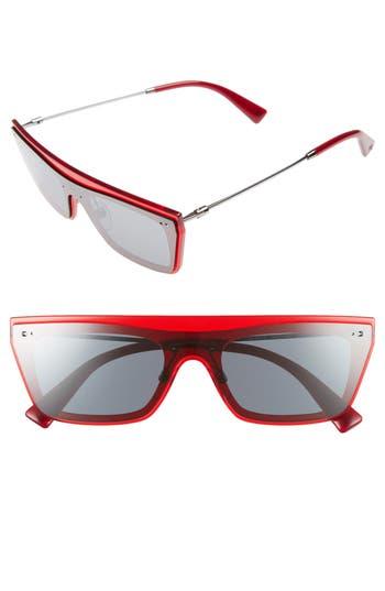 Valentino Rockstud 50Mm Rectangular Sunglasses - Mirror Black/ Transparent Red