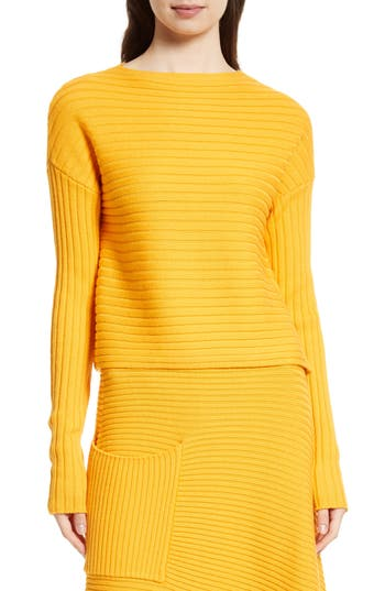Tibi Ribbed Wool Sweater, Orange
