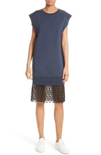 Women's Public School Tesa Lace Trim Sweatshirt Dress, Size X-Small - Blue