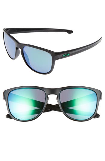 Oakley Sliver(TM) 57Mm Round Sunglasses - Matte Black/ Jade Iridium