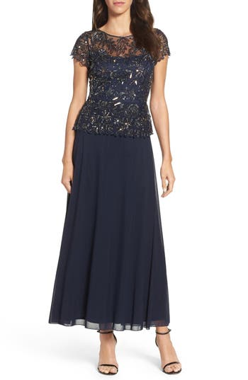 Pisarro Nights Beaded Mesh Mock Two-Piece Gown, Blue